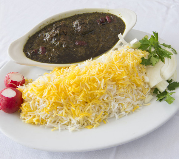(28) Ghormeh Sabzi (Stew) – Served with Rice & Fresh Bread