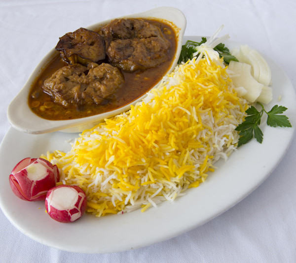 (30) Gheymeh Bademjoon - Served with Rice & Fresh Bread
