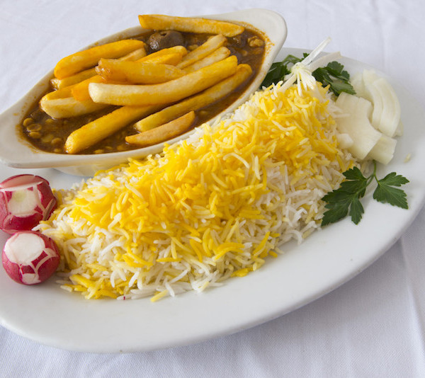 (31) Gheymeh with French Fries Topping - Served with Rice & Fresh Bread